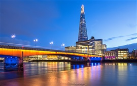 London, England, bridge, river Thames, evening, lights, buildings