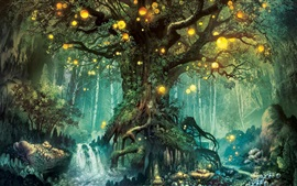 Preview wallpaper Magic forest, tree, lights, creative design