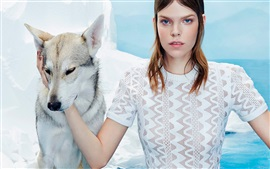 Preview wallpaper Meghan Collison, girl with dog