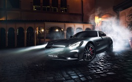Mercedes-Benz AMG GT S silver supercar, night, lights, smoke