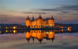 Preview wallpaper Moritzburg Castle, Saxony, Germany, water reflection, night, lights