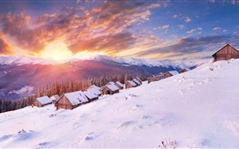 Preview wallpaper Mountains, houses, winter, thick snow, cold, sun