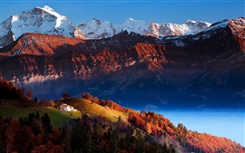 Montanhas, vale, árvores, casa, lago