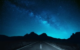 NIght, sky, stars, road, silhouette