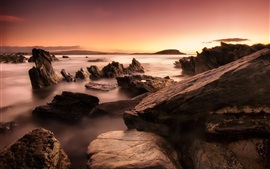 Preview wallpaper Ocean, sea, rocks, sunrise, dawn