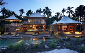 Preview wallpaper Palm trees, house, bungalow, pool, bedroom, deck chairs, night, lights