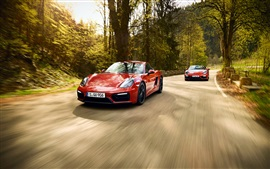 Preview wallpaper Porsche 911 and 991 red supercars, speed, road
