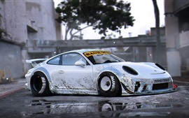 Preview wallpaper Porsche 911 silver supercar side view