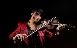 Preview wallpaper Red dress Asian girl, violin, music, black background