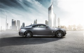 Preview wallpaper Rolls-Royce Wraith luxury car in city