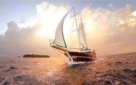 Preview wallpaper Sea, ship, sailboat, water, sunset, clouds