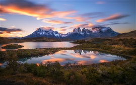 South America, Chile, Patagonia, Andes mountains, lake, sunset