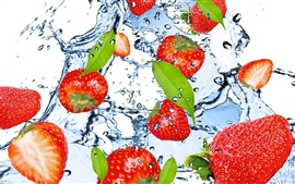 Strawberry, fruit, water, splash