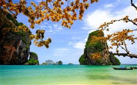 Vietnam, belas paisagens, mar, rochas, ilhas, árvores, folhas, barcos