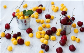 Preview wallpaper Yellow and red cherries, small buckets