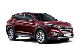 Preview wallpaper 2015 Hyundai Tucson KR-spec red SUV car