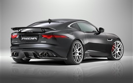 Preview wallpaper 2015 Jaguar F-Type R Coupe, black supercar rear view