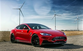 Preview wallpaper 2015 Larte Design Tesla red electric car