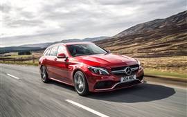Preview wallpaper 2015 Mercedes-Benz AMG C63 UK-spec red car speed