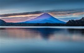 Beautiful Japan nature scenery, Mount Fuji, lake, clouds, dawn