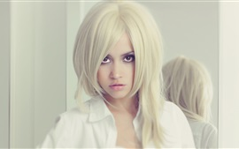 Preview wallpaper Blonde girl, brown eyes, white dress