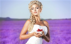 Preview wallpaper Blonde girl, white dress, hands, red raspberry