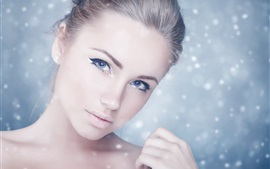 Preview wallpaper Blue eyes girl, makeup, face, blur background