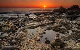 Preview wallpaper Chemical Beach, Seaham, rocks, coast, sea, sunrise, England
