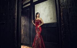niña china, cheongsam hermosa