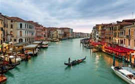 Preview wallpaper City in the water, Venice, Italy, canal, houses, boats, dusk, lights