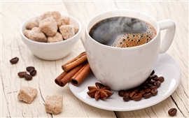 Cup, coffee, cinnamon, sugar
