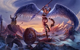 Preview wallpaper Fantasy girl, angel, wings, warrior, battle