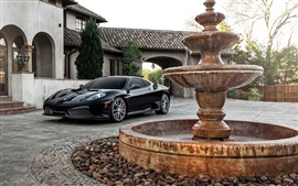 Preview wallpaper Ferrari F430 black supercar, house, fountain