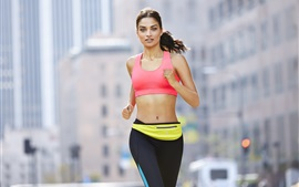 Preview wallpaper Fitness girl, running, sportswear, city