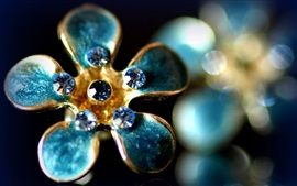 Preview wallpaper Flower shaped ring, gemstones, aquamarine, glare, luxury