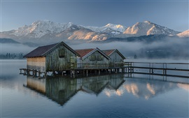Germany, Bavaria, wood house, lake, mountains, morning, fog