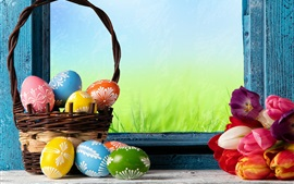 Preview wallpaper Happy Easter, colorful eggs, basket, tulips, flowers