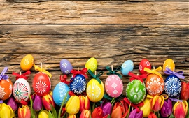 Happy Easter, colorful eggs, wood board, tulips flowers