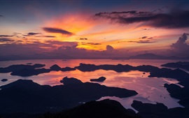 Preview wallpaper Hong Kong, China, morning, sea, coast, red sky, clouds, sunrise