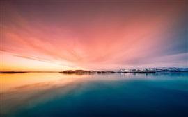 Islândia, ilhas, mar, crepúsculo
