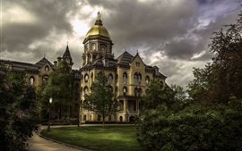 Preview wallpaper Indiana, Notre Dame University, USA, trees, clouds, dusk