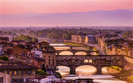 Italy, Florence, Arno river, bridge, houses, dusk