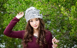 Preview wallpaper Jancy Wong, leaves, hat