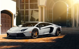 Preview wallpaper Lamborghini Aventador LP700-4 white supercar, house, sun rays