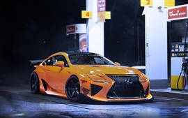 Lexus RCF-A yellow sport car, night