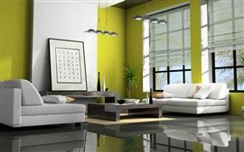 미리보기 배경 화면 거실, 소파, 램프, 창, 일본 스타일