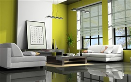 Living room, sofa, lamp, window, Japan style