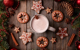 Aperçu fond d'écran Joyeux Noël, biscuits, tasse, boissons