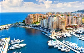 Monaco, city, blue sea, pier, yachts, houses, sky, clouds