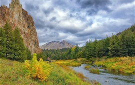 Preview wallpaper Mountains, trees, grass, river, bushes, clouds, autumn